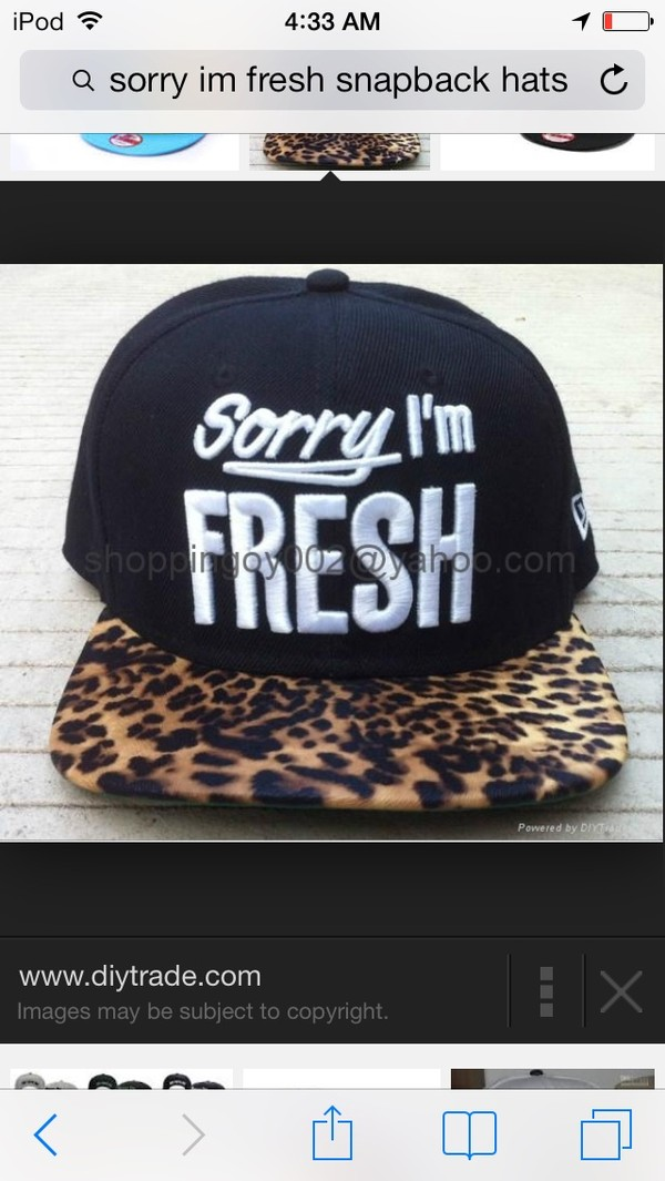 hat sorry snapback leopard print