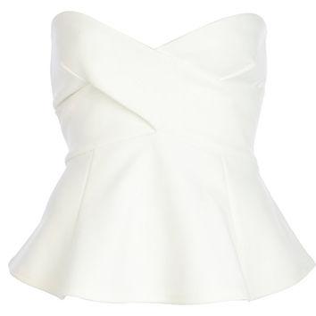 White bandeau wrap peplum top - peplum tops - tops - women on Wanelo