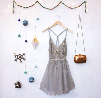 dress grey dress glitter dress party dress open back dress silver new year's eve party outfits