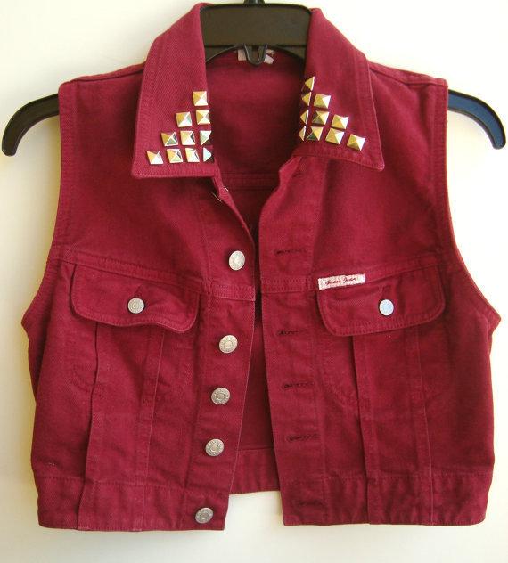 Red Denim Vest Vintage Guess Sleeveless Jean Jacket Studded Jean Vest Maroon Color Size Small on Wanelo