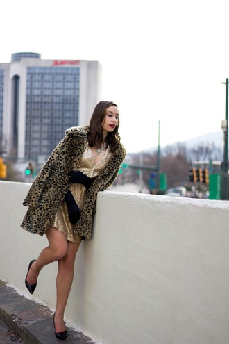 tennessee rose blogger dress jewels shoes winter outfits fur coat animal print gold dress mini dress high heel pumps