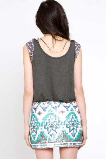 Tribal Print Sequin Skirt - Sequin Skirts - $56