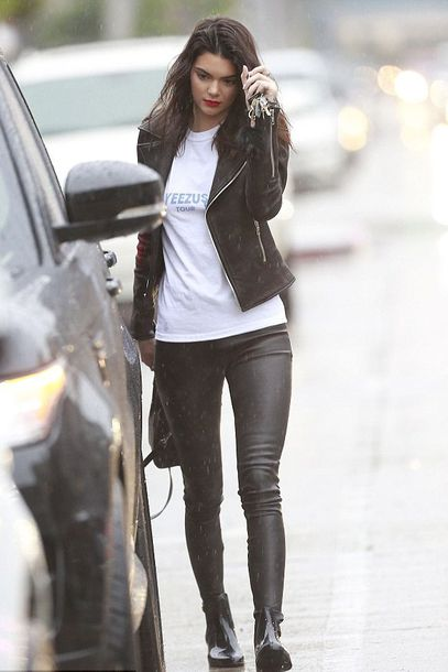 kendall jenner leather pants leather jacket white t-shirt shoes boots