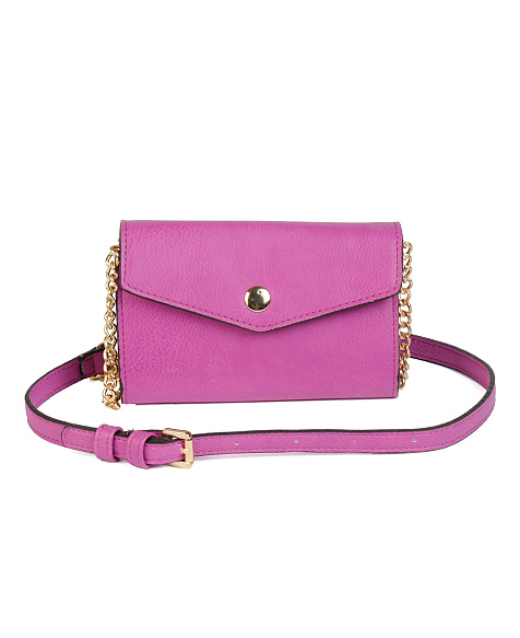 Street Level Snap Front Crossbody Clutch on Chain
