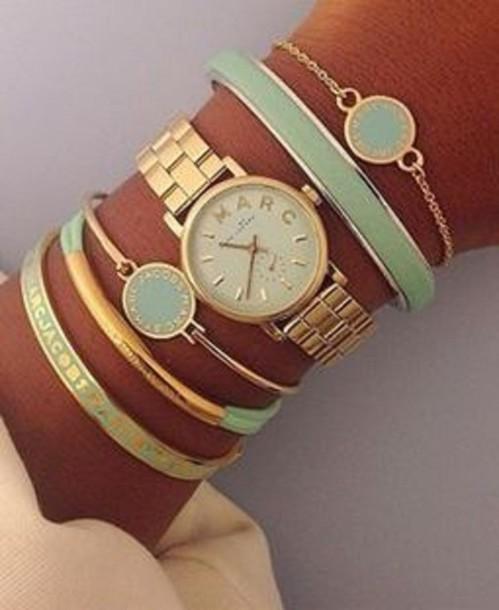 jewels bracelets gold watch green