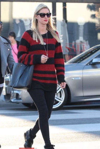nicky hilton fall outfits striped sweater