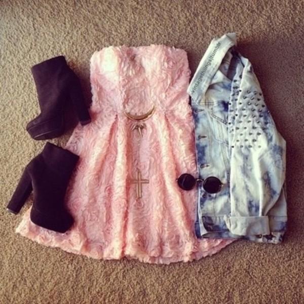 dress pink flowers strepless jacket