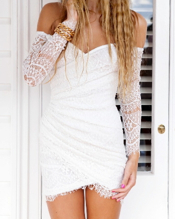 Little Sexy White Lace Dress - Juicy Wardrobe