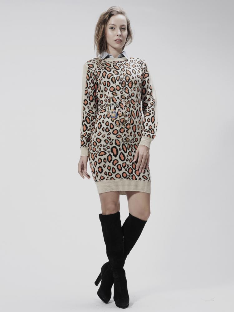 Celebona Tiger Embroidered Kintted Long Sweater in Leopard Print   Choies