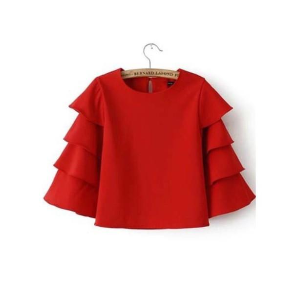 blouse red shirt t-shirt