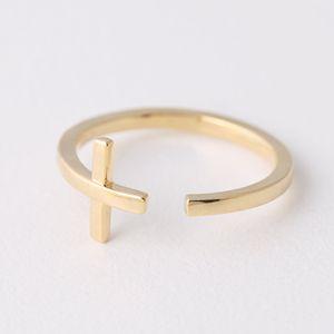 Gold Sideways Cross Wrap Around Ring from Kellinsilver.com