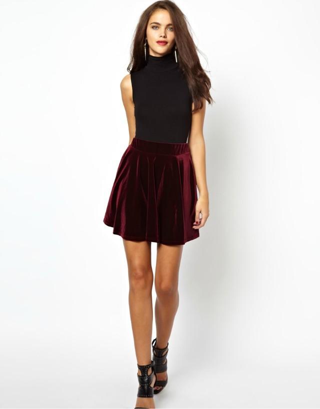 Wine Red Pleated Velvet Skirt - Sheinside.com