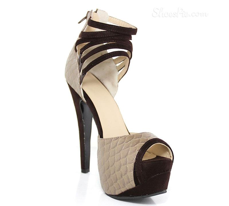 Luxurious Snake Skin  Peep Toe Ankle Strap High Heel Shoes