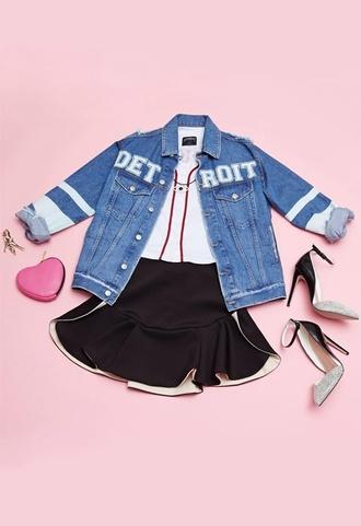 jacket detroit miniskirt heart high heels shoes baseball
