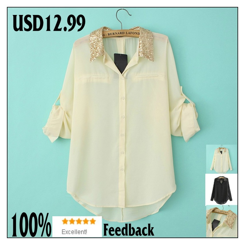 100% Excellent Feedback 2013 CHIFFON top for women blouses and Tops Blouses shirt Plus Size women Clothing Free Shipment-in T-Shirts from Apparel & Accessories on Aliexpress.com