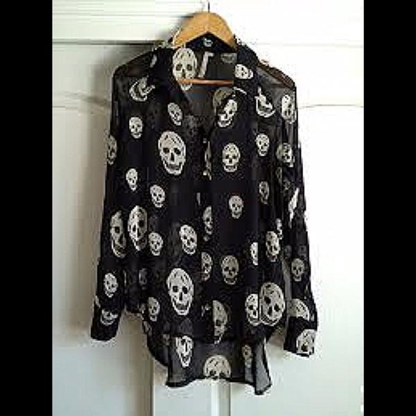 blouse shirt rock hip tumblr cute hipster skull hipster punk