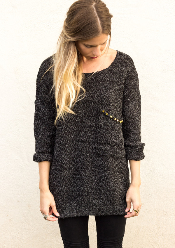 sweater long sleeves knit top shirt studs studded