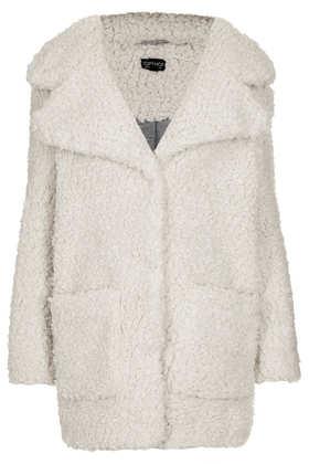 Longline Borg Coat - Jackets & Coats  - Clothing  - Topshop