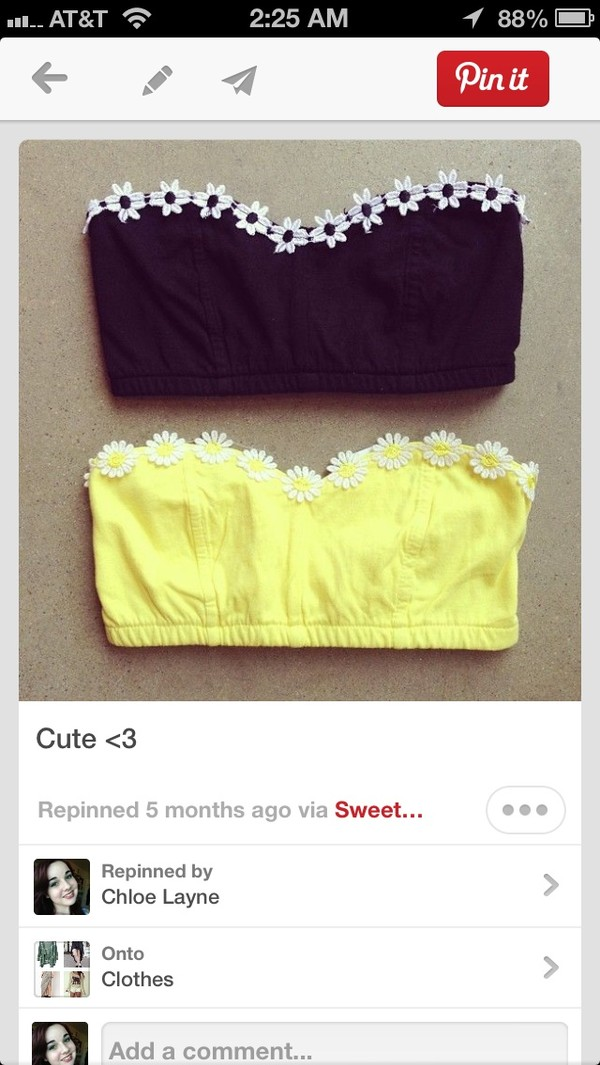 underwear daisy flowers top bralette bralette bra bustier yellow black tank top bandu top swimwear where can i find this daisy bandeau