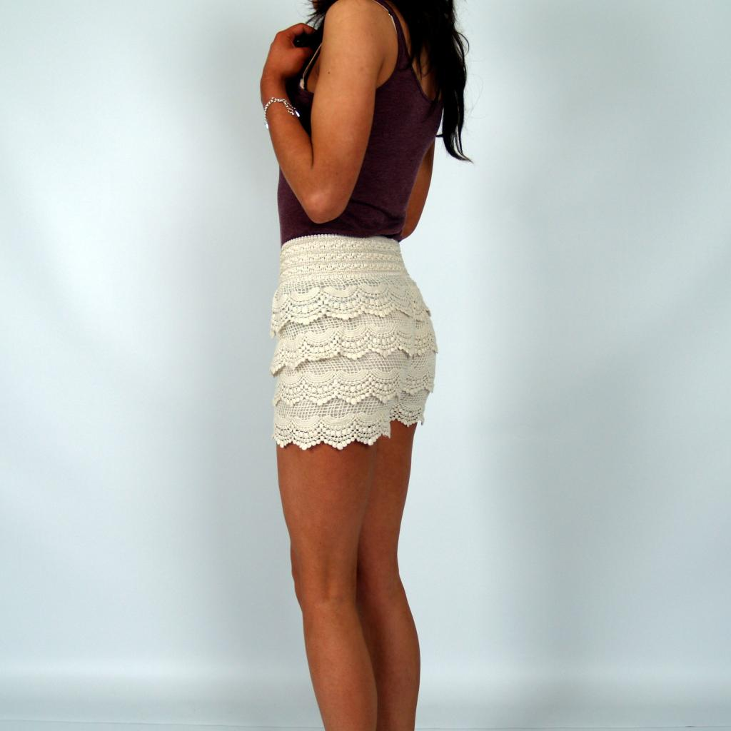 New Multilayer Womens Crochet Lace Shorts Bodycon Skirt Pants Size XS s M L XL   eBay