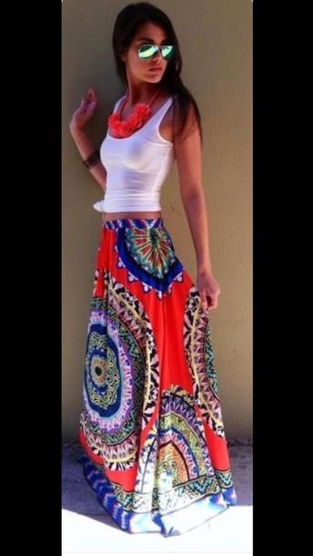 skirt long maxi tie dye floral skirt