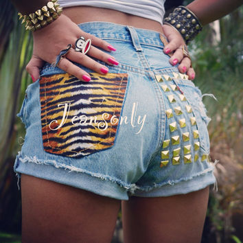 Tiger Print shorts, High waisted Levis studded Denim shorts, High rise distressed shorts by Jeansonly on Wanelo