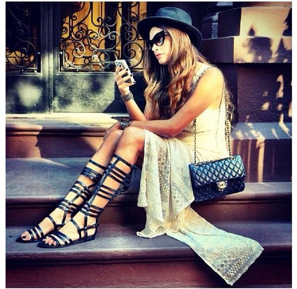 shoes flat sandals gladiators knee high sandal heel black sandals