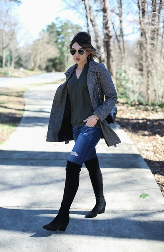 life & messy hair blogger jeans shoes sunglasses jewels coat grey coat thigh high boots boots chanel bag winter outfits