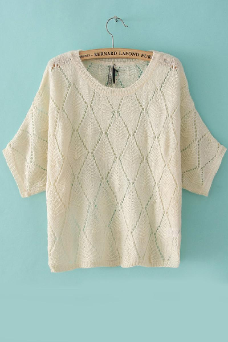 Loose Three Quarter Sleeve Diamond Argyle Hollow Pullover Knitwear,Cheap in Wendybox.com