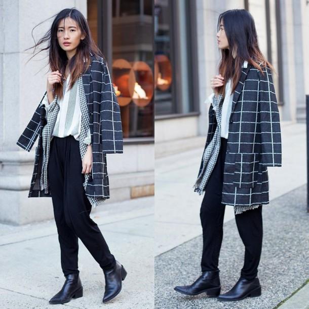 coat grid minimalist grunge blogger lookbook black white net boyish french girl style