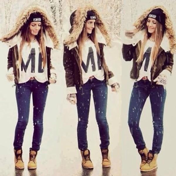 shoes winter outfits winter outfits winter boots boots tumblr girl snow jacket