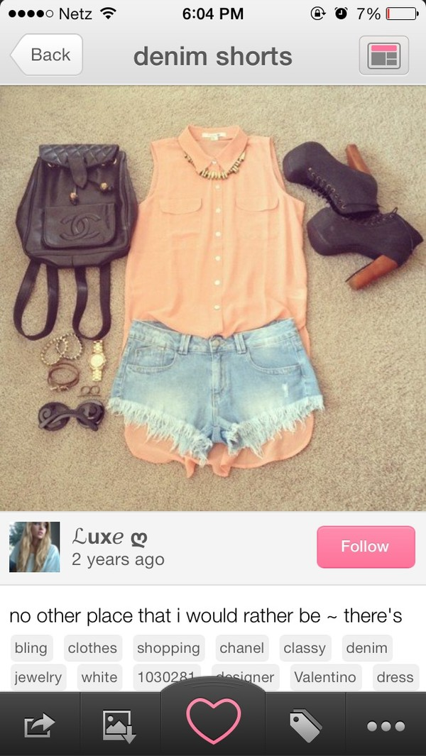 blouse pink blouse shorts black shoes bag shirt