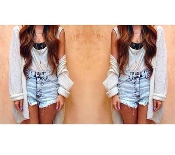 sweater slouchy sweater acid wash shorts High waisted shorts white shirt grunge sift grunge hipster pop vintage alternative shorts blouse