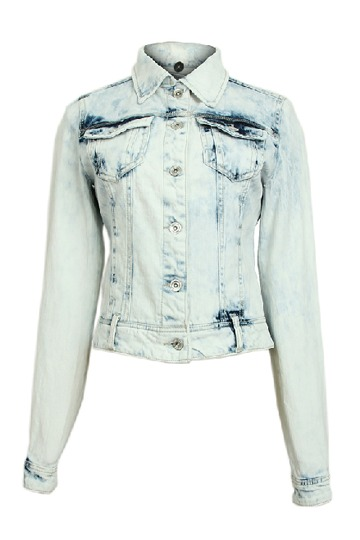 Washed Buttons Denim Coat with Pockets [FEBK0117]- US$ 53.99 - PersunMall.com