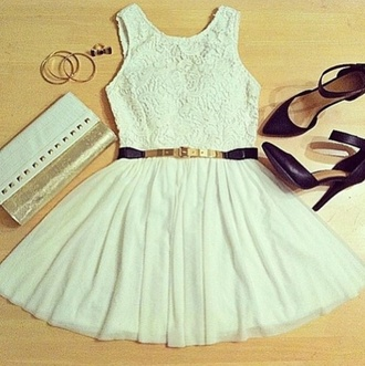 dress girl hipster white dress clutch bag blue white pale cream ivory colorful beautiful pretty cut cute party prom short mini roses pattern floaty belt heels purse love this