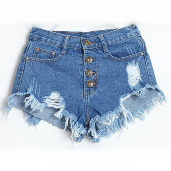 Aliexpress.com : Buy 2014 new arrival hole tassel high waisted buttoned Frazzle Burr demin short women jeans  from Reliable jeans unisex suppliers on Dora Sweet Shop