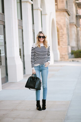 ivory lane blogger sweater jeans shoes bag sunglasses jewels handbag striped top ankle boots givenchy bag