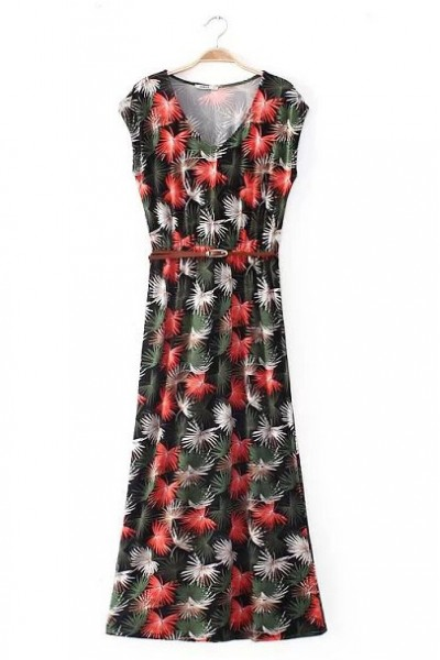 KCLOTH Leaves Printed Maxi Dress