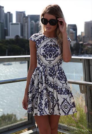 Navy/White Paisley Print Dress Cap Sleeve | Xenia Boutique | ASOS Marketplace