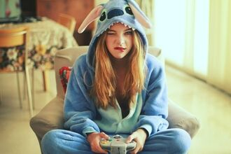 sweater barbara palvin stich onesie blue hoodie halloween costume pants stitch lilo and stitch light blue cute clothes jumpsuit pajamas
