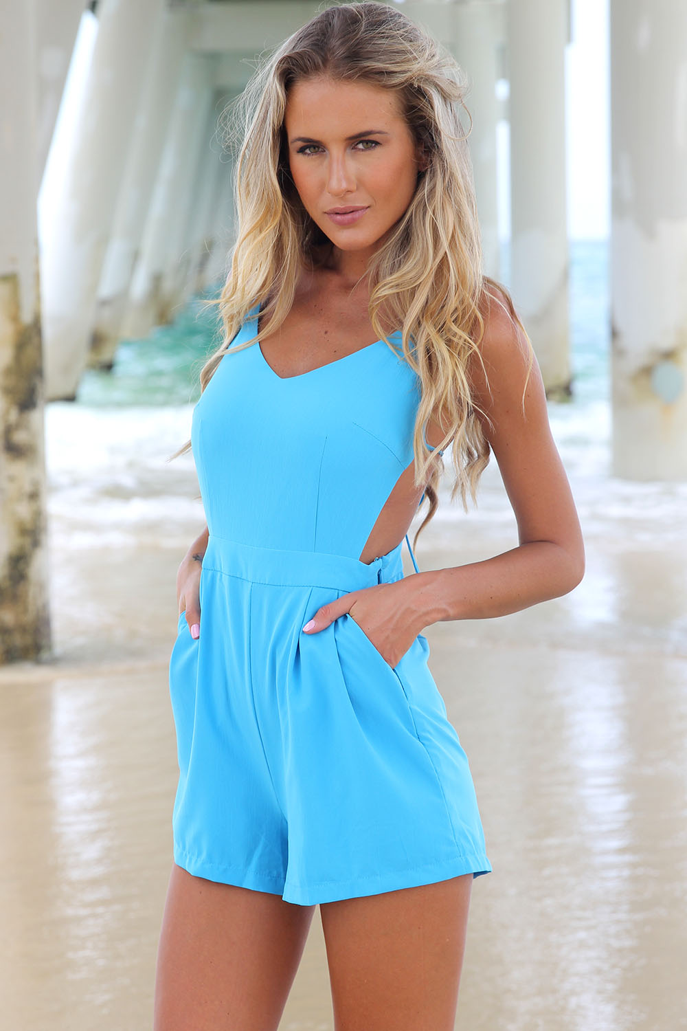 Blue Jump Suits/Rompers - Sky Blue Playsuit with Exposed   UsTrendy