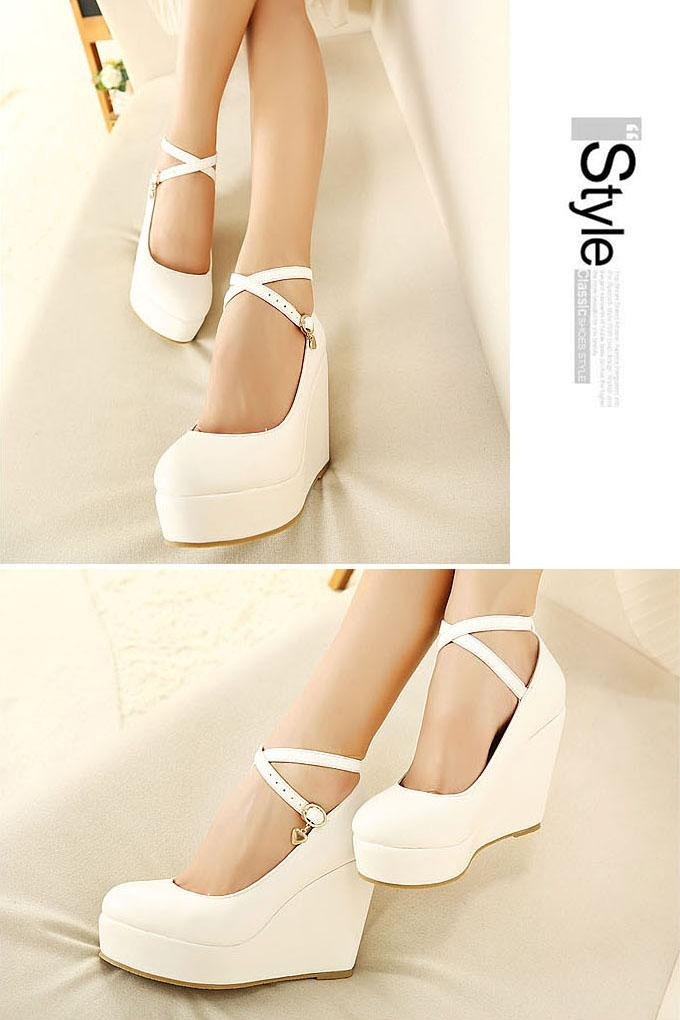 Sexy Ball Girls Platform Pumps Wedge Thick High Heels Ankle Strap Shoes 3 Color | eBay