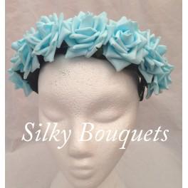 Sky Blue Rose Flower Hairband - Silky Bouquets Ltd
