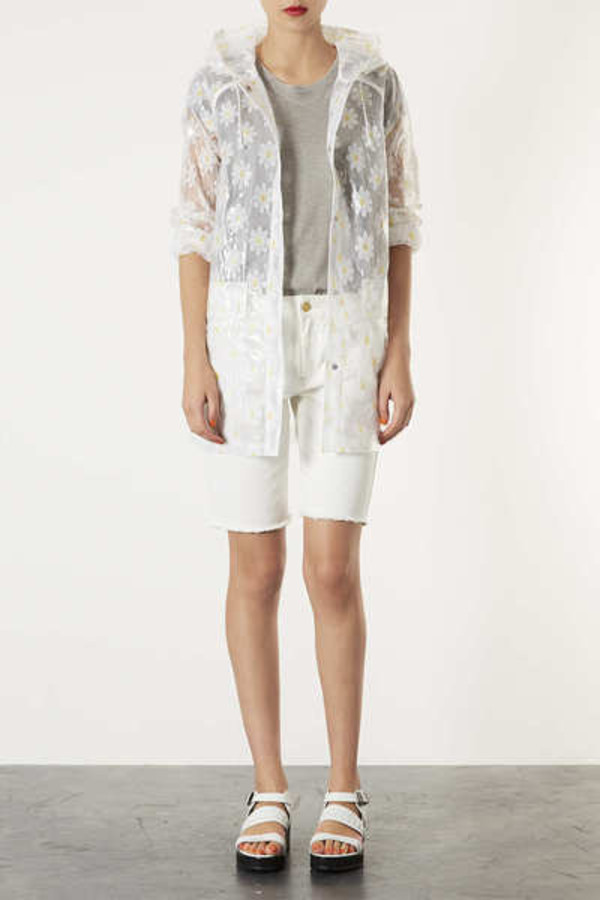 jacket daisy clear mac cosmetics flowers raincoat rain winter outfits