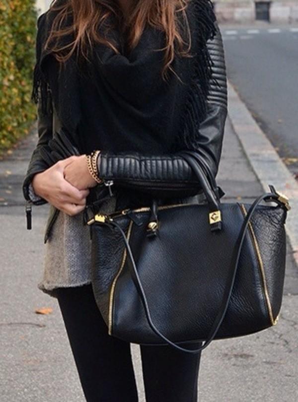 jacket bag black bag gold