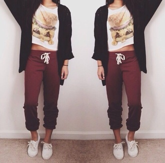 pants t-shirt hamburger sweats comfy casual cardigan cute food food shirt fast food chill