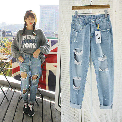Splashed Oil Paint Destroyed Ripped Distressed Denim Harem Jeans Boyfriend Pants   eBay