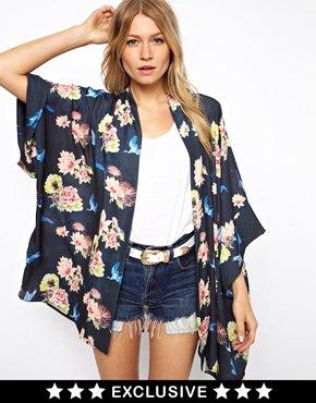 Love   Love Kimono In Floral Print at ASOS