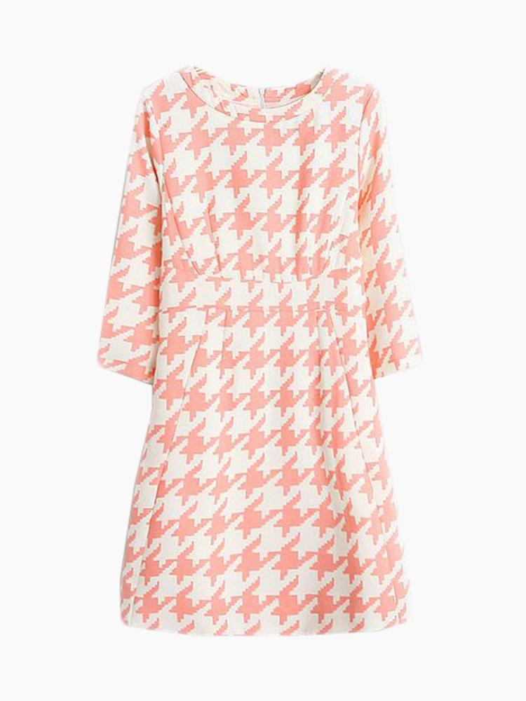 Pencil Dress With Houndstooth Pattern | Choies