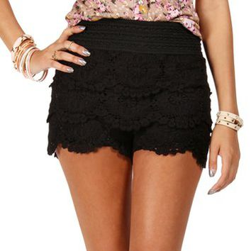 Black Crochet Lace Shorts on Wanelo